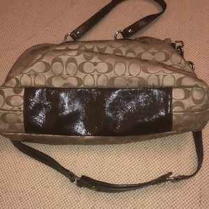Coach Bags - Coach tan sateen and brown patent leather purse